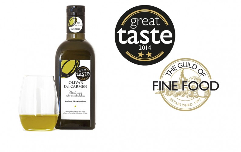 Extra Virgin Olive Oil Olivar del Carmen awarded with two stars of the Great Taste 2014. it's now available on Ya en tu casa.